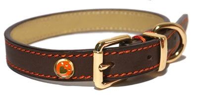 Luxury leather halsband hond leer luxe bruin 1,3x25-36 cm