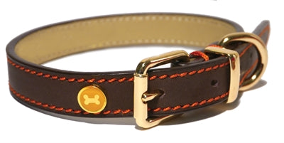 Luxury leather halsband hond leer luxe bruin 1,9x36-46 cm