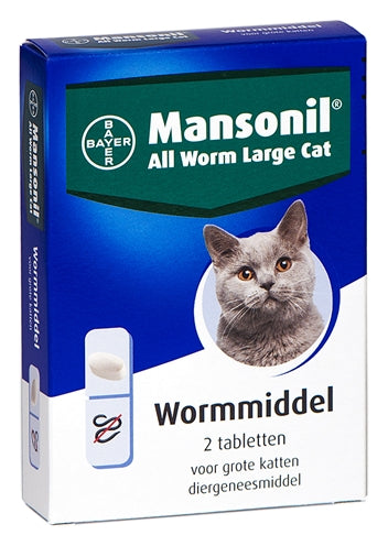 Mansonil grote kat all worm tabletten 2 st