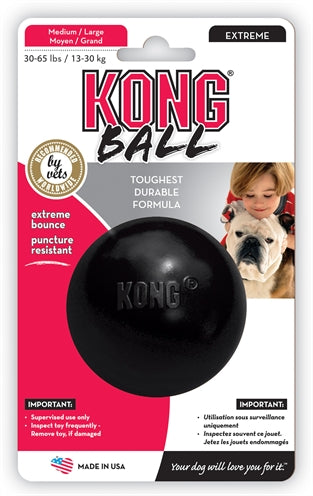 Kong x-treme rubber bal zwart medium