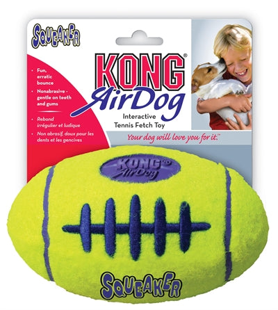 Kong air squeaker football geel medium 13x8 cm