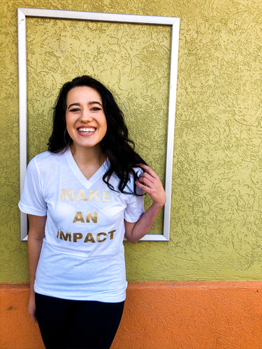 'Make An Impact' White & Gold Tee