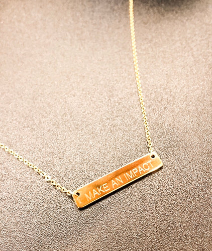 'Make An Impact' Gold Bar Necklace