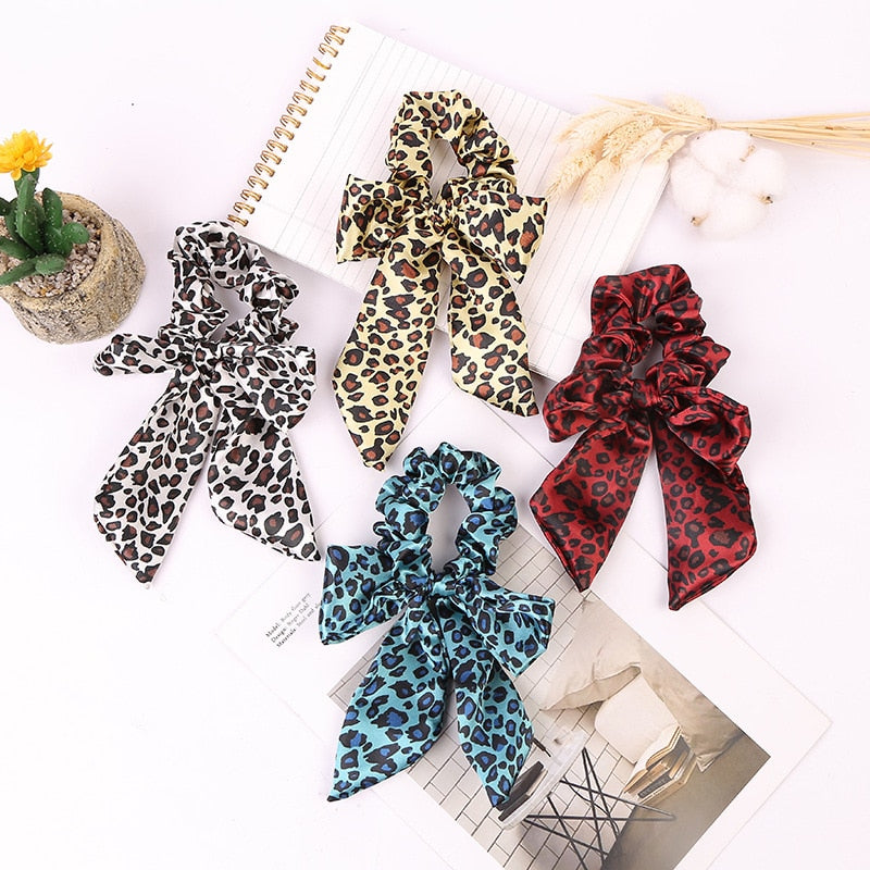 Leopard - Bow Hair Scrunchies