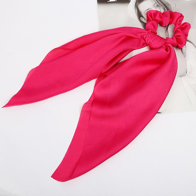 Hot Pink - Bow Hair Scrunchie