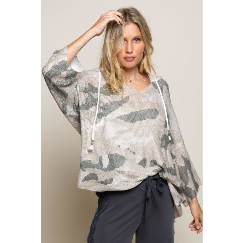 Wendy Camo Lightweight Hooded Sweater