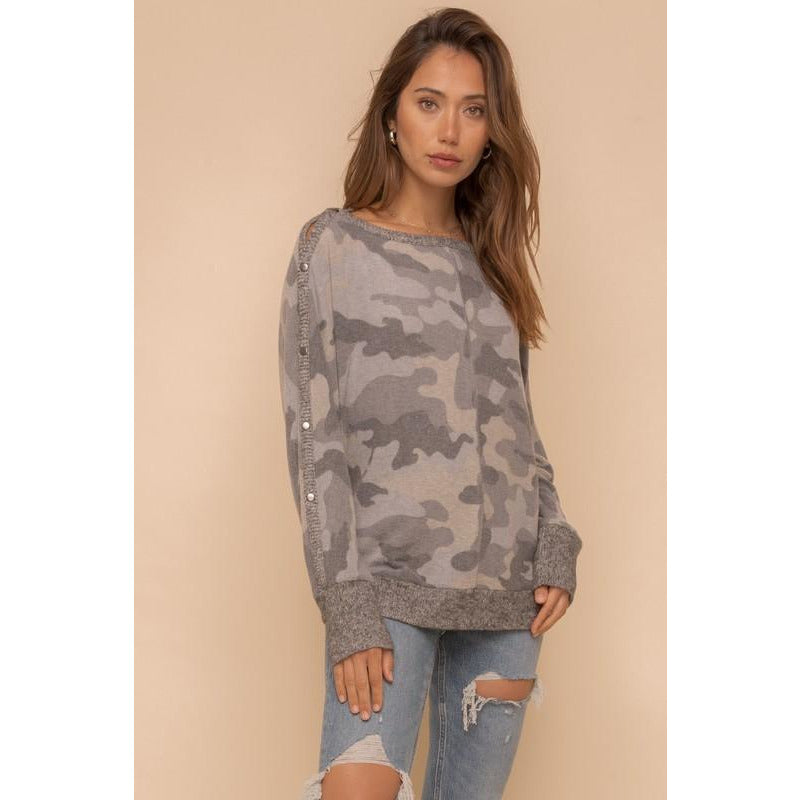 Grey Camo Brushed Hacci Boat Neck Top