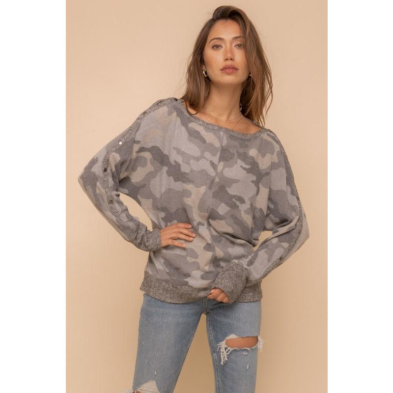 Hadley Camo Boat Neck Top