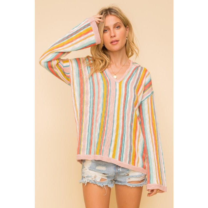 Jane Striped Hoodie Sweater