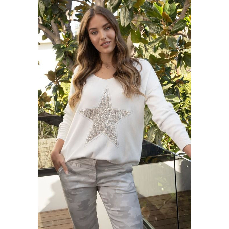 Felicity Sequin Star Sweater