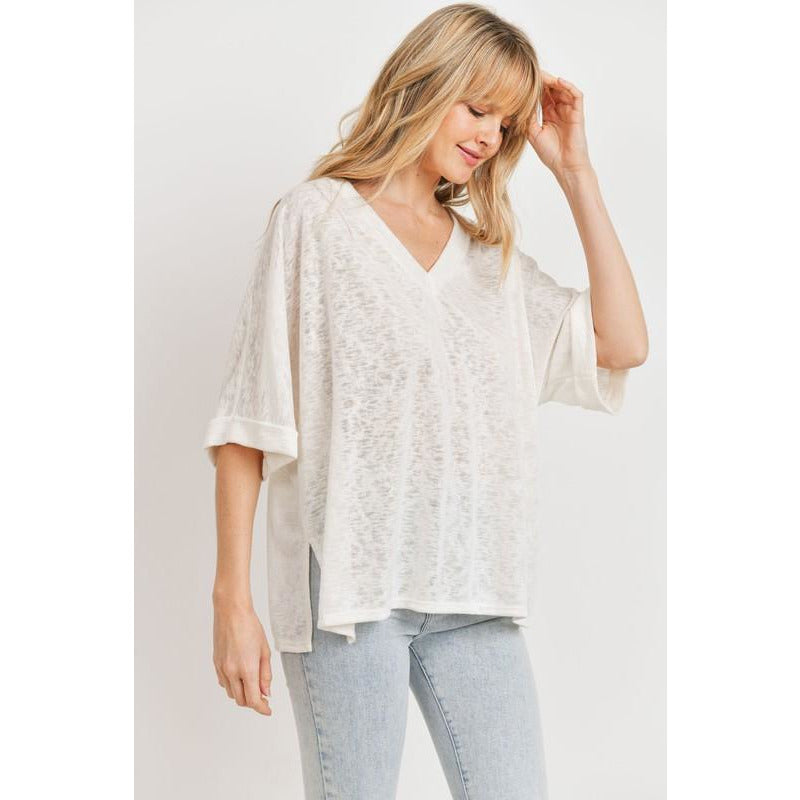 Drew V Neck Cuffed Sleeves Soft Knit Top