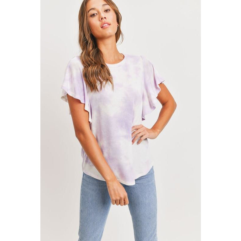 Elina Bell Sleeves Round Neck Tie Dye Knit Top