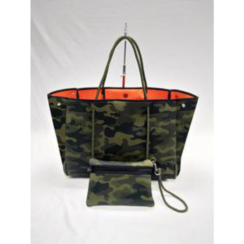 Haute Shore Greyson Tote Remix-Green camo/olive sides/orange lining