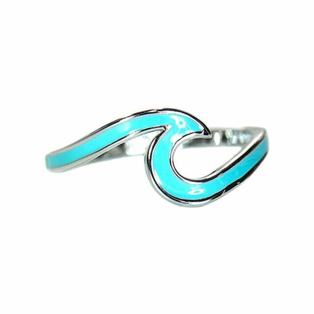 Pura Vida Enameled Blue/Silver Wave Ring Size 8