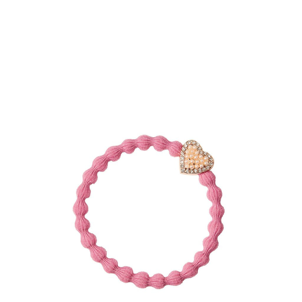 Cie Luxe Hair Tie Bracelet Rose Pink with Bling  Pearl Heart