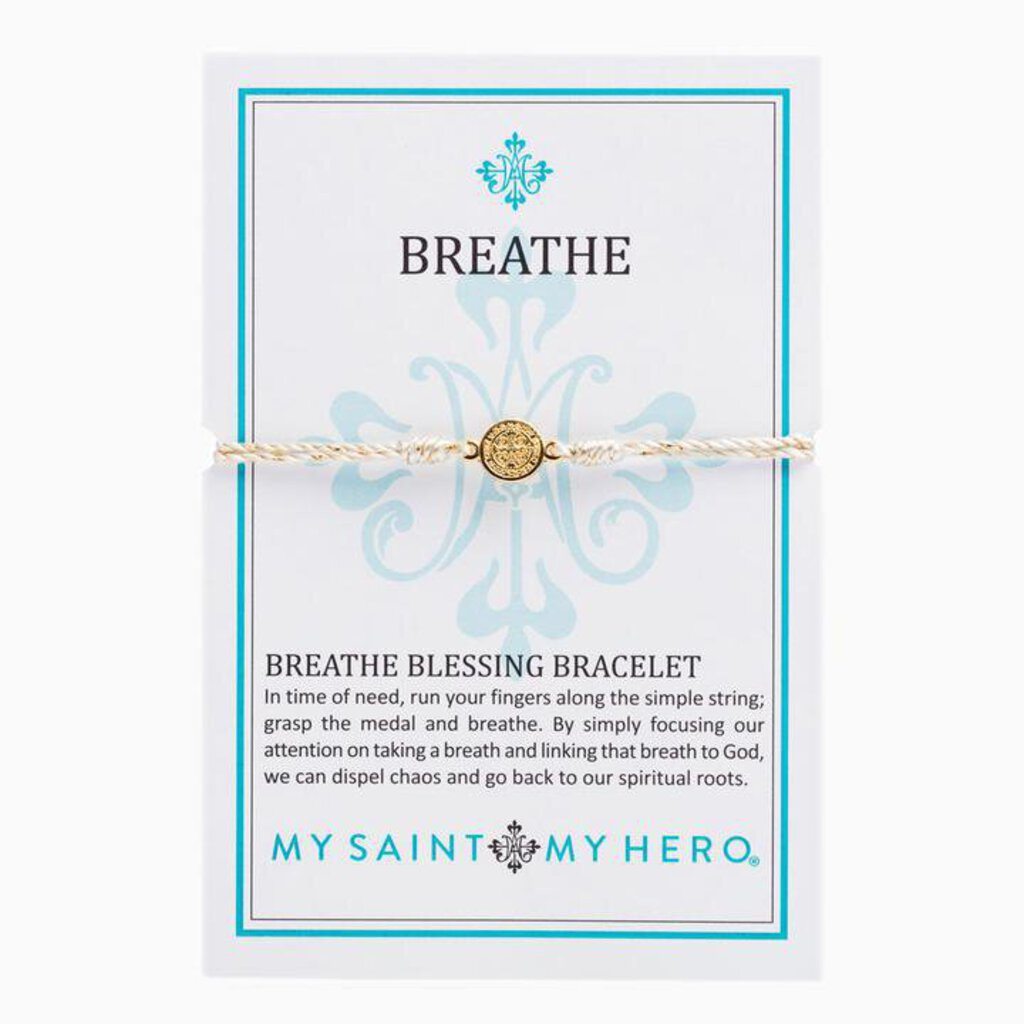 My Saint My Hero Breathe Blessing Bracelet Gold