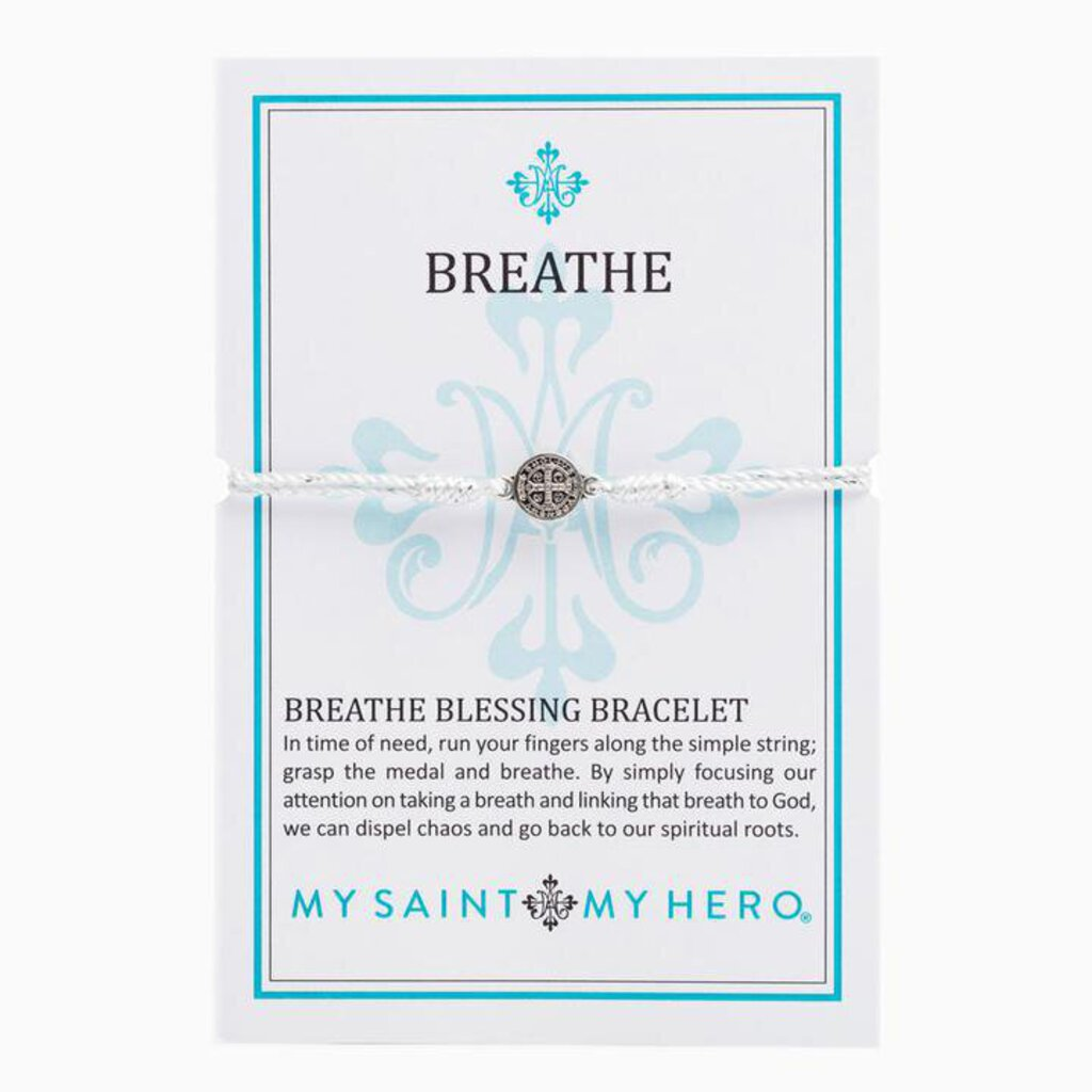 My Saint My Hero Breathe Blessing Bracelet Silver