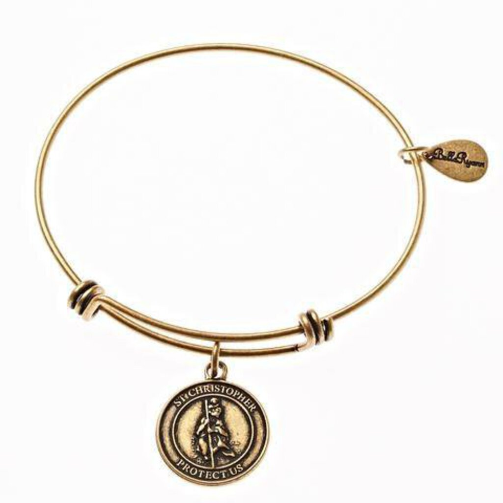 St. Christopher Expandable Bangle Charm Bracelet in Gold