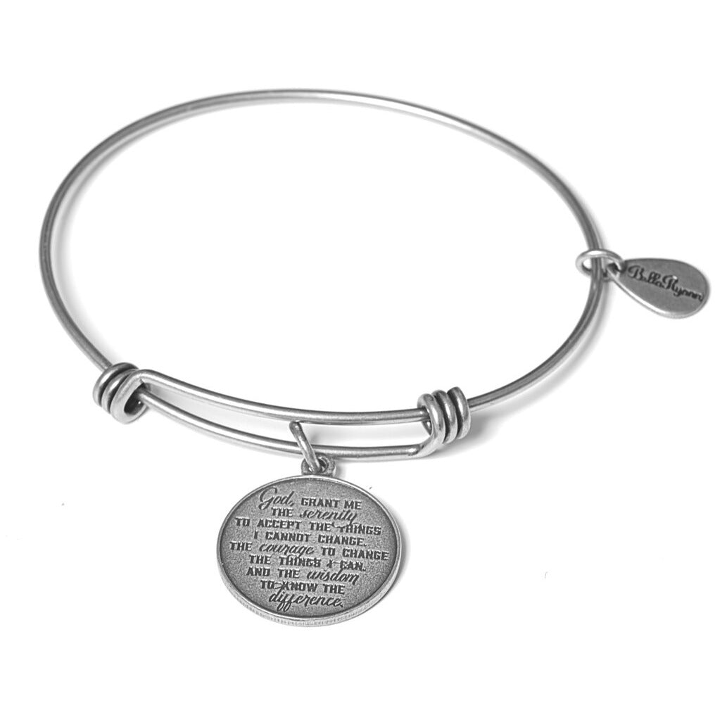 Serenity Prayer Silver Expandable Bangle Charm Bracelet