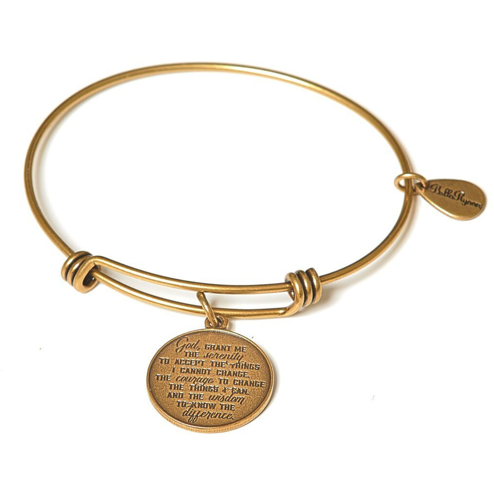 Serenity Prayer Gold Expandable Bangle Charm Bracelet