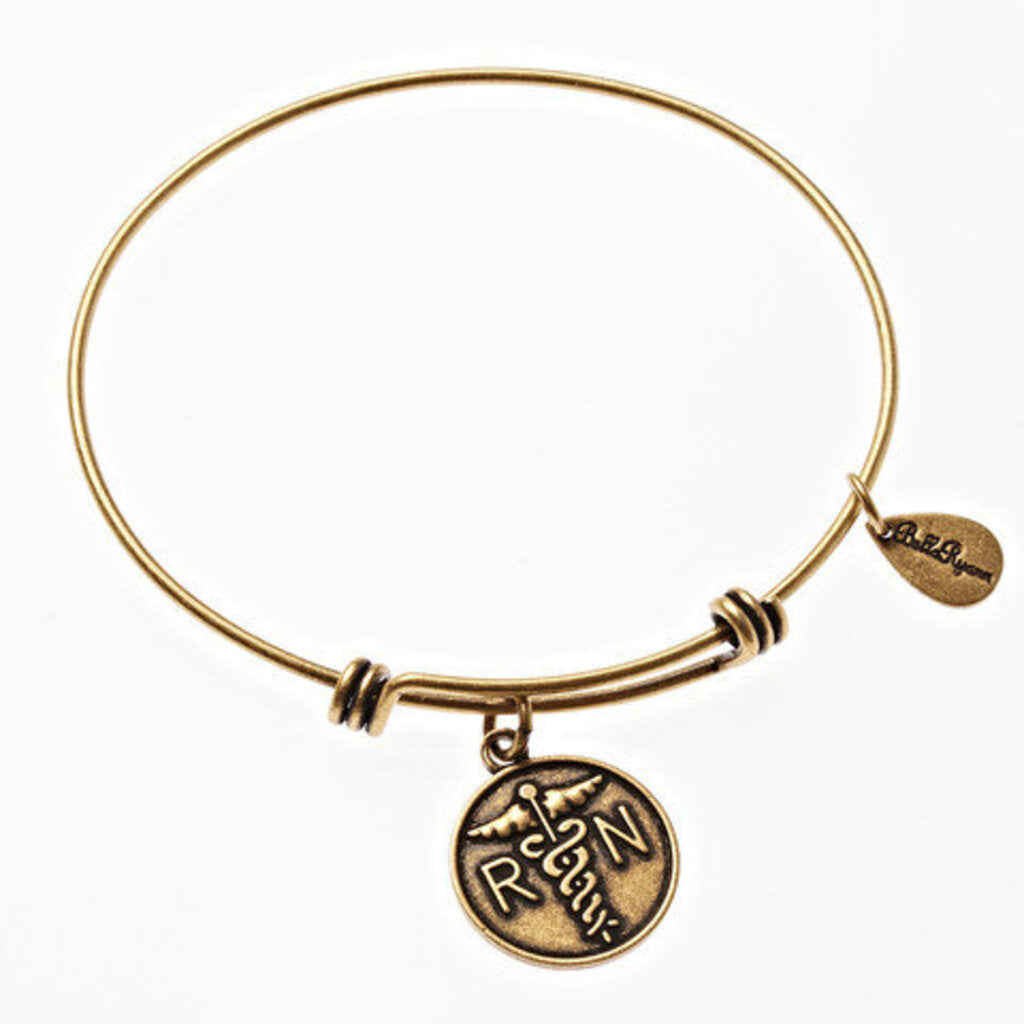 Nurse Expandable Bangle Charm Bracelet in Gold