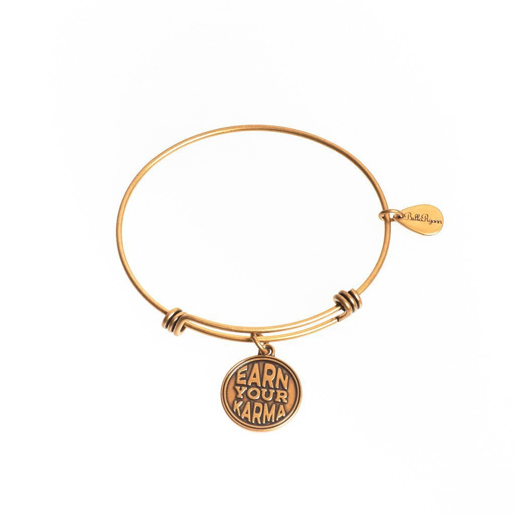 Earn Your Karma Expandable Bangle Charm Bracelet in Gold