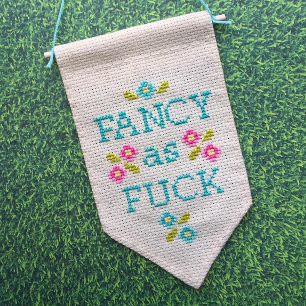 Fancy as Fuck Tiny Banner Cross Stitch Kit