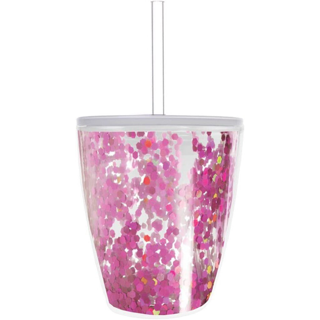 Pink Confetti Filled 10 oz Tumbler