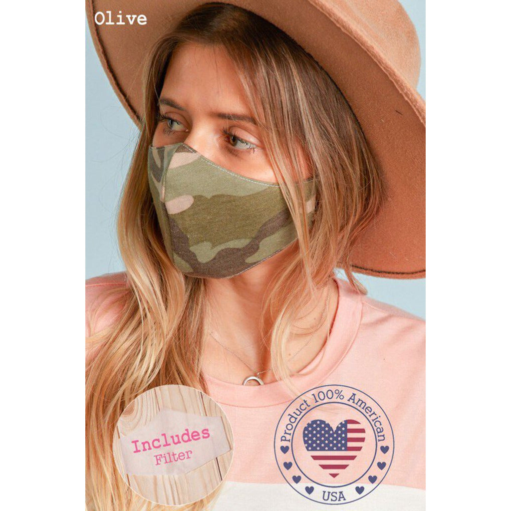 Face Mask with Filter Pocket-Camo Print Adult