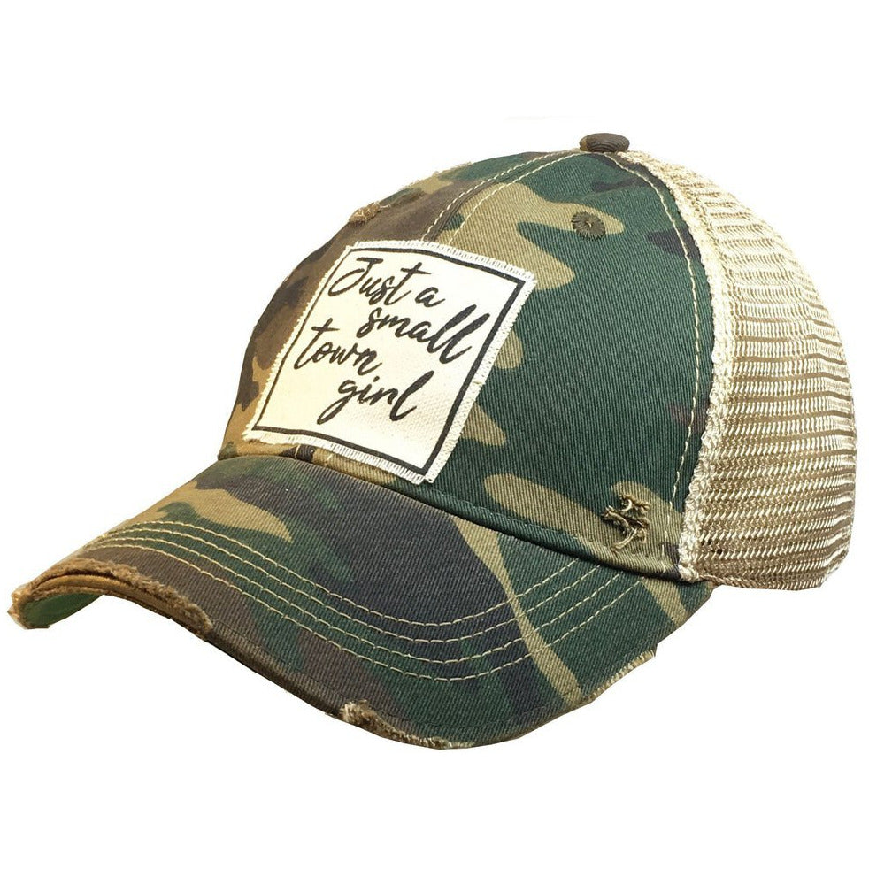 Just A Small Town Girl Distressed Trucker Hat