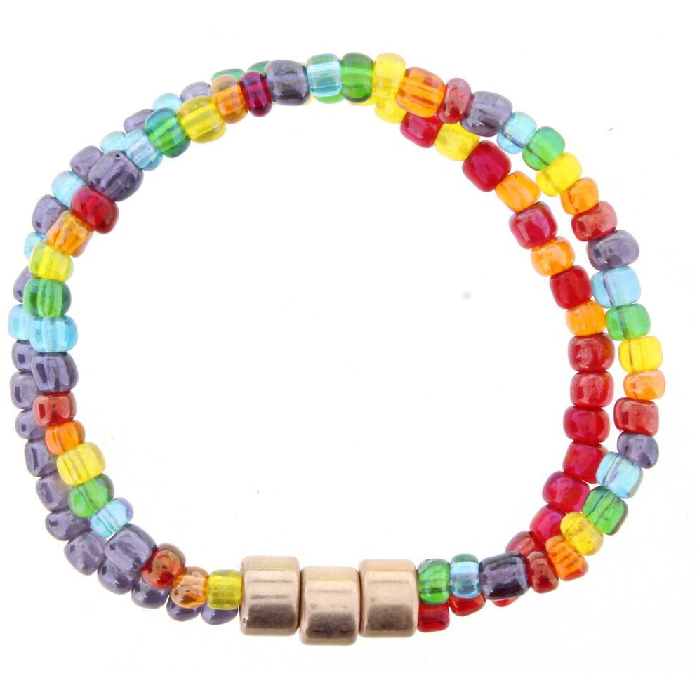 Kids 2 Strand Rainbow Beaded Stretch Bracelet with 3 Silver Spacers