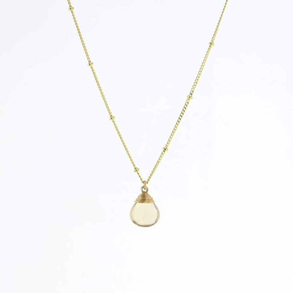 Lotus-Gold Trinket Necklace-Champagne Quartz