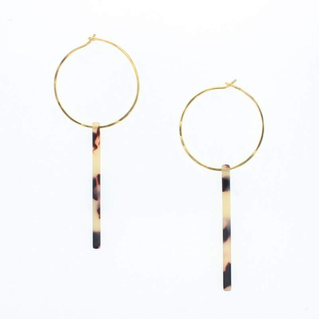 Lotus Gold Bianca Earrings-Tan Tortoise
