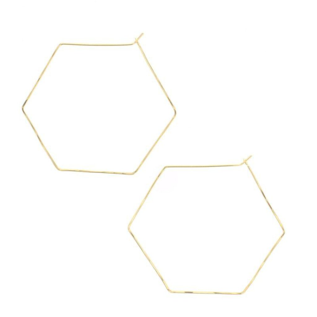 Lotus Large Gold Filled Hexagon Hoop Earrings