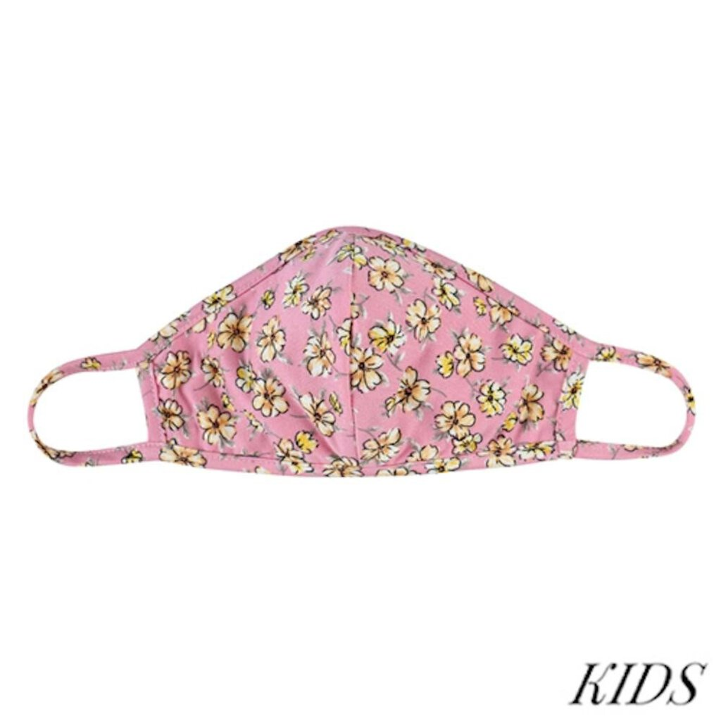 Face Mask-Pink Floral with Seam-KIDS