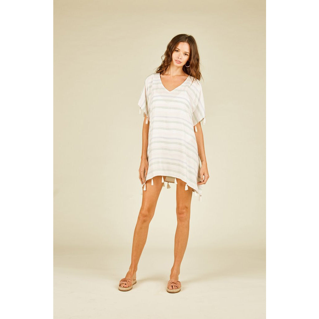 Warm White Pastel Weave Stripe Cover Up-S