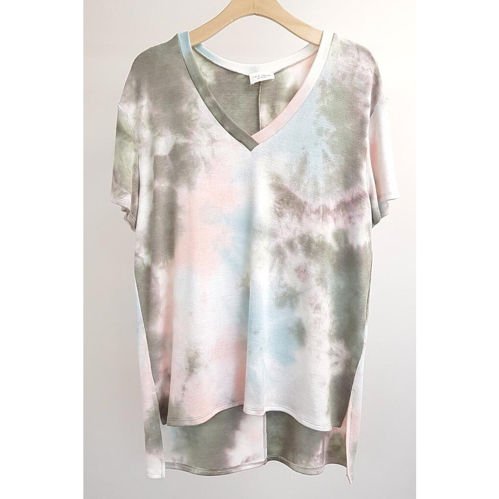 Peach & Grey Tie Dye V Neck Short Sleeve Top-S