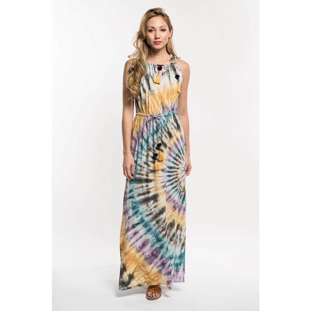 Tie Dye Festival Maxi Dress with Tassels-M