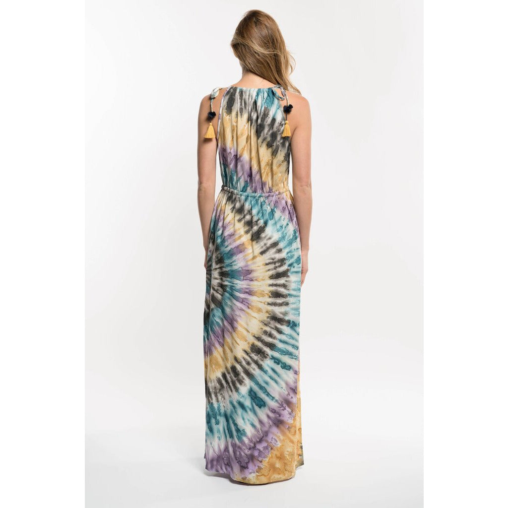 Tie Dye Festival Maxi Dress with Tassels-L