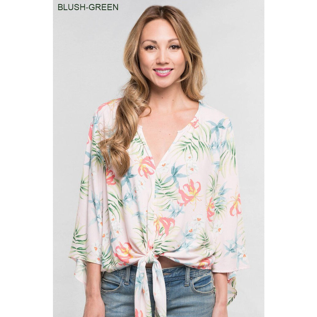 Blush & Green Tropical Floral Tie Front Top-S