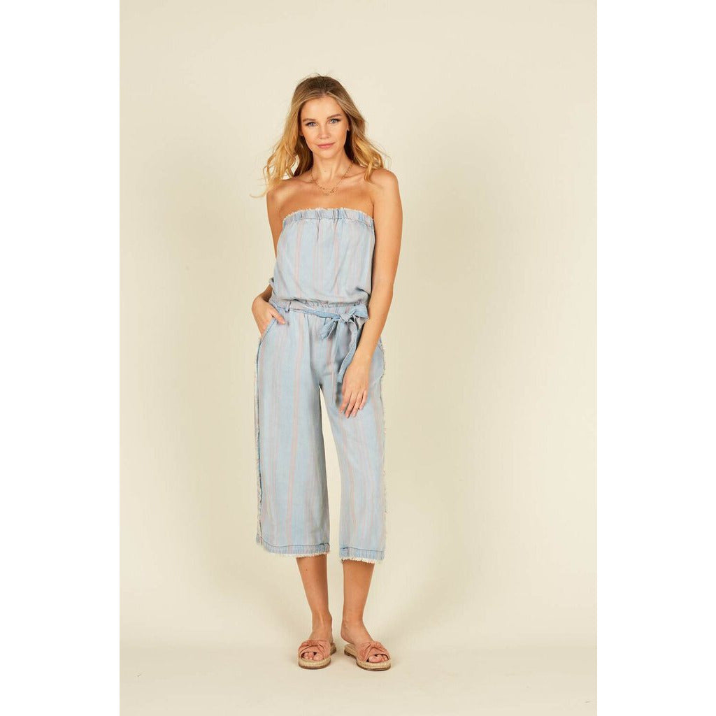 Denim & Coral Stripe Strapless Tencel Jumper with Tie at the Waist-L