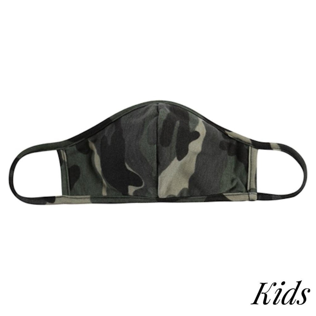 Face Mask-Green & Black Camo with Seam-Kids