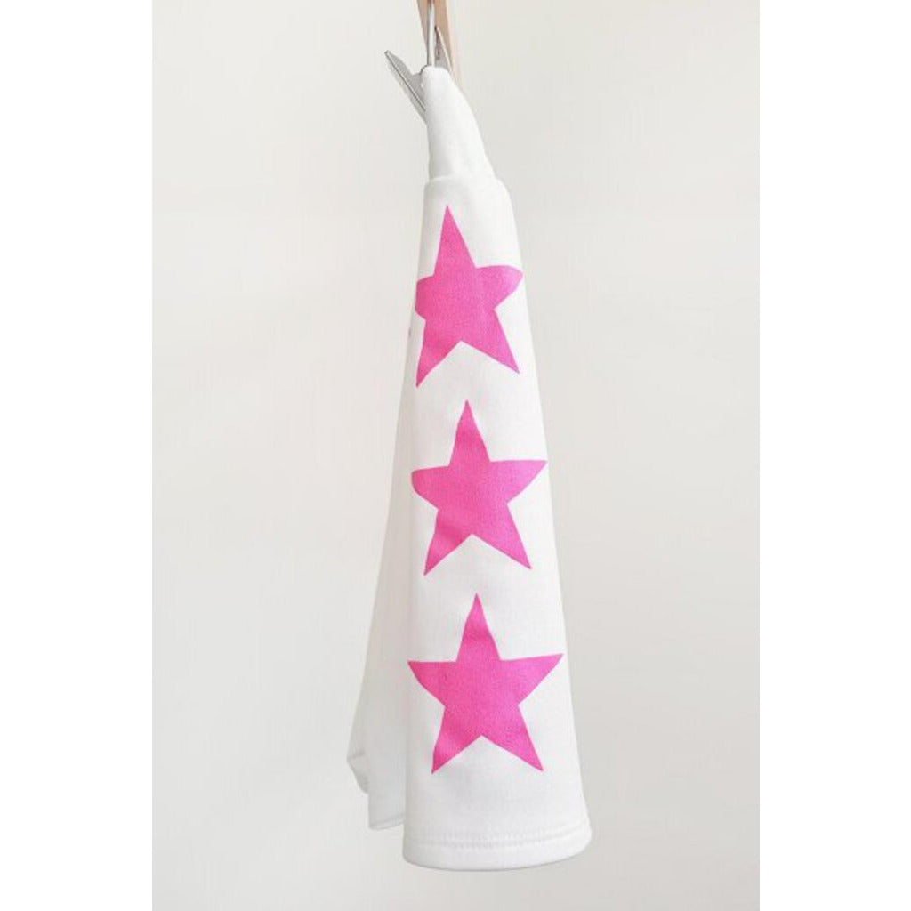 Side Star Printed Knit Shorts-Ivory & Hot Pink-M