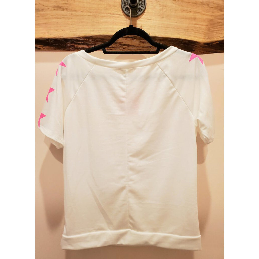 Star Printed Short Sleeve Top-Ivory & Hot Pink-M