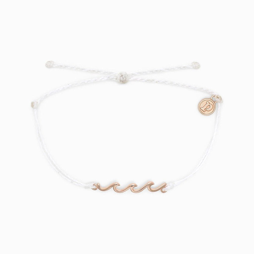 Pura Vida Delicate Wave Bracelet-Rose Gold & White