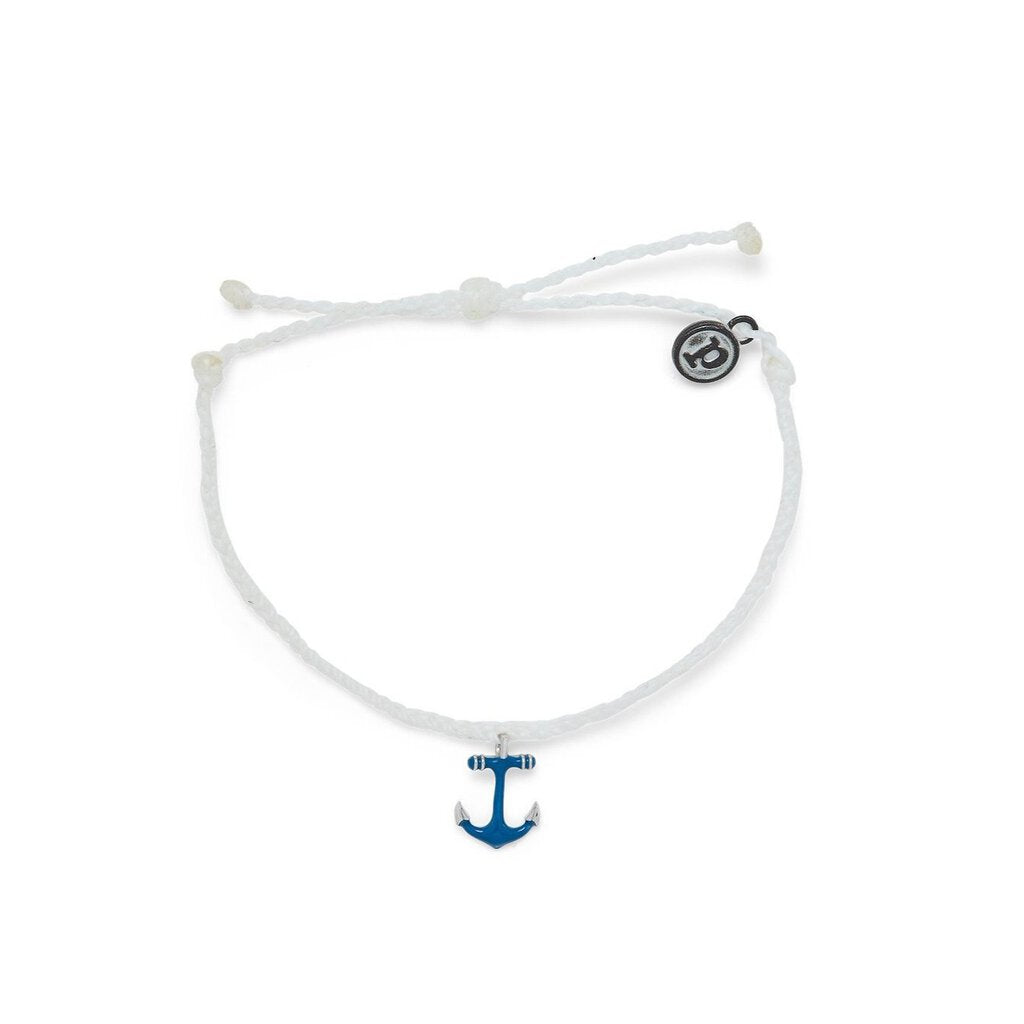Pura Vida Anchors Away Silver Bracelet with White