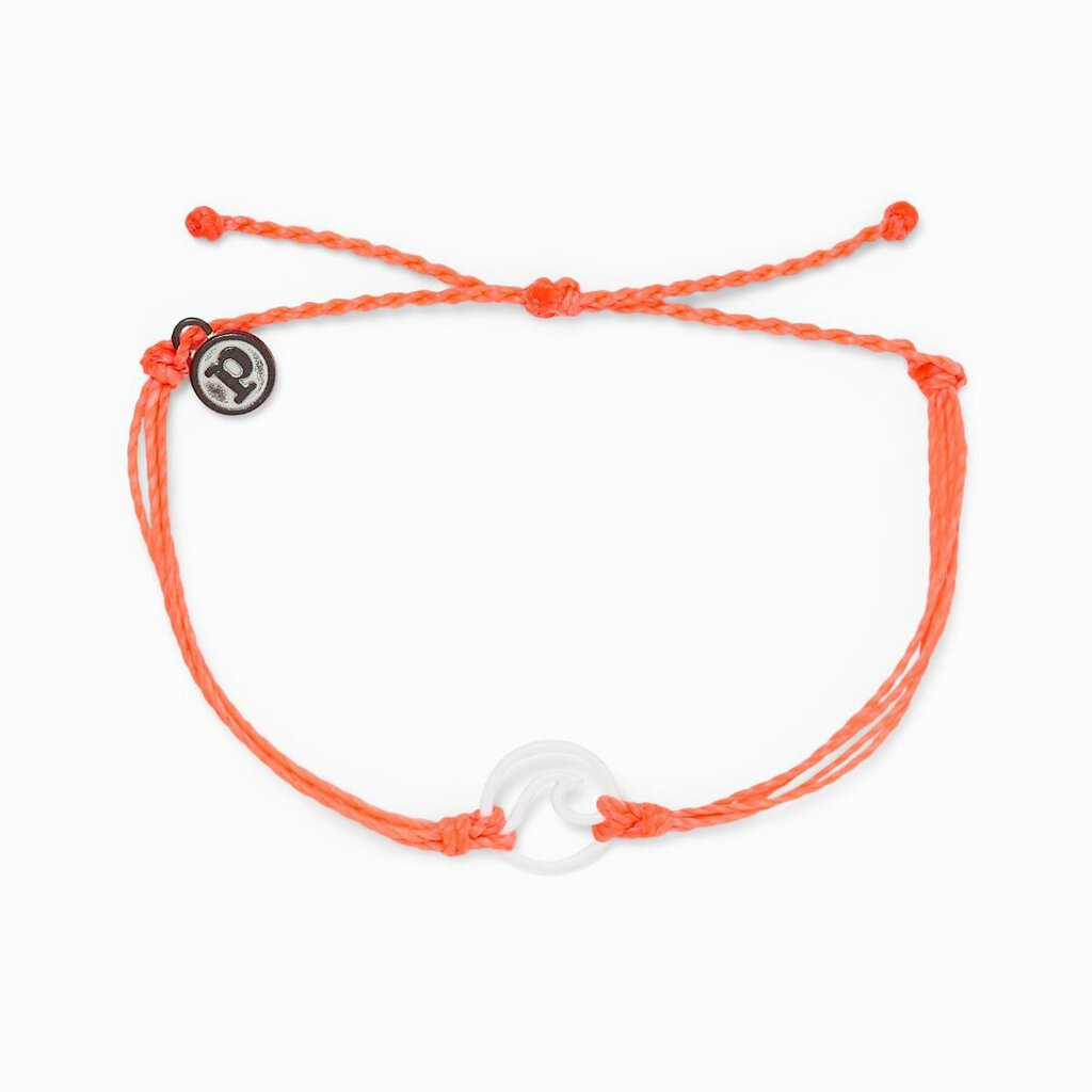 Pura Vida Enamel Wave Bracelet-White & Strawberry