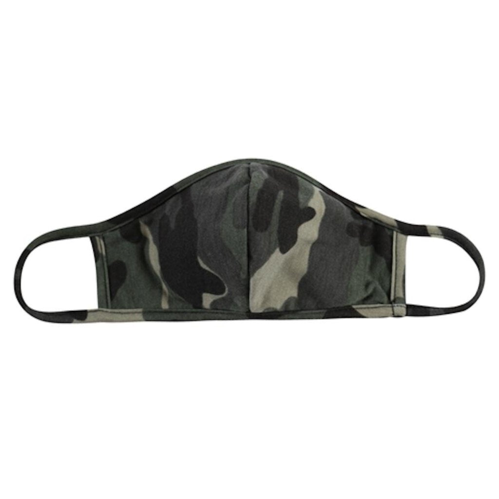 Face Mask-Green & Black Camo with Seam-ADULT