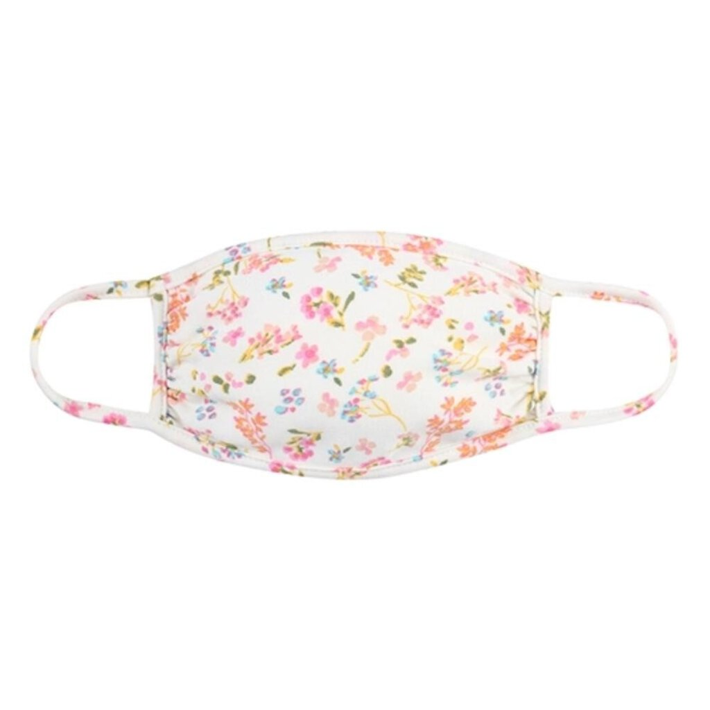 Face Mask-Ivory with Pink & Blue Flowers-ADULT