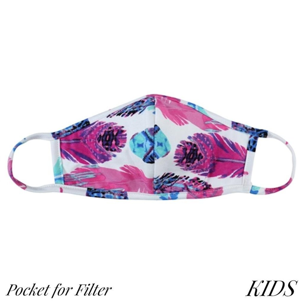 Face Mask-Boho Feathers with Seam & Filter Pocket-Kids